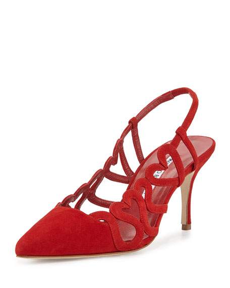 Wonka Heart-Cutout Pointed-Toe Sandal, Red