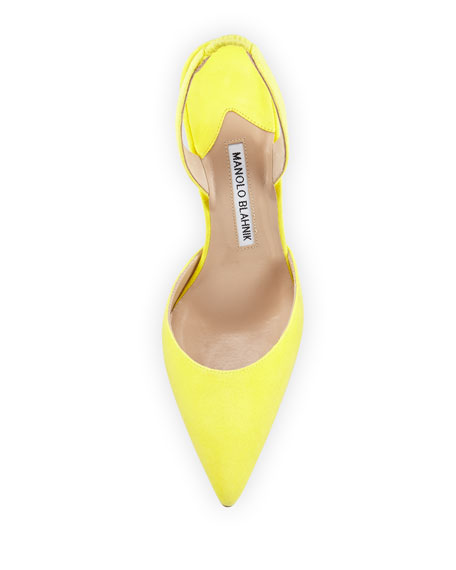 Carolyne Gala High-Heel Suede Halter Pump, Yellow