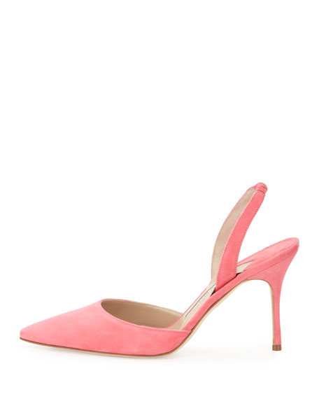 Carolyne Gala High-Heel Suede Halter Pump, Strawberry