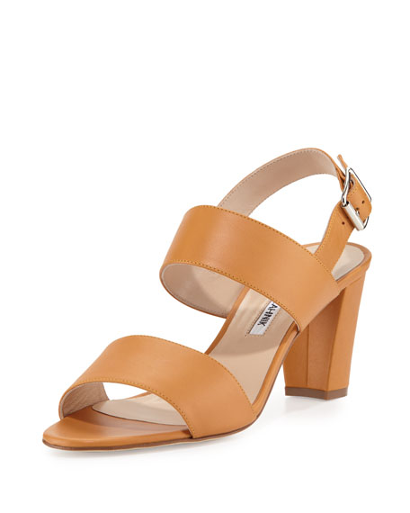Manolo Blahnik Khan Leather Double-Band Sandal, Tan