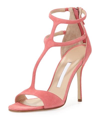 Cellin Suede T-Strap High-Heel Sandal, Pink