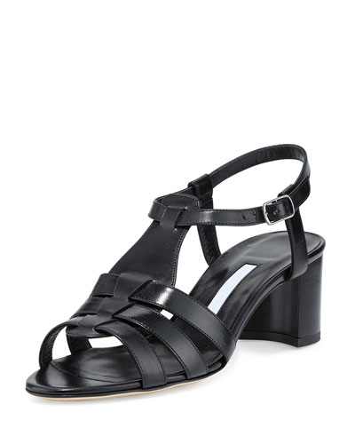 Compadre Leather Chunky-Heel Sandal, Black