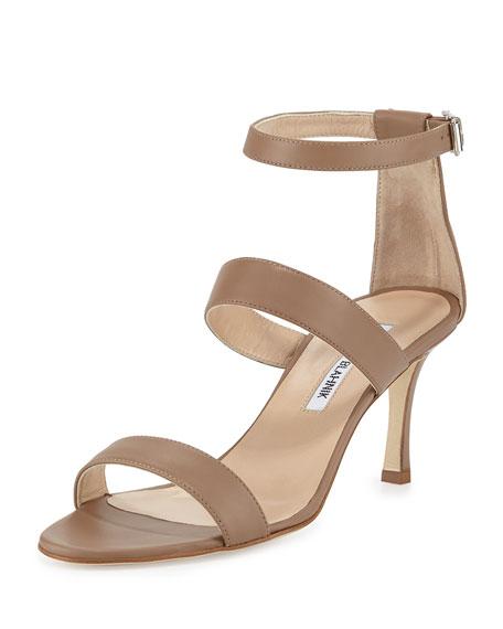 Manolo Blahnik Kaotic Triple-Strap Sandal, Taupe