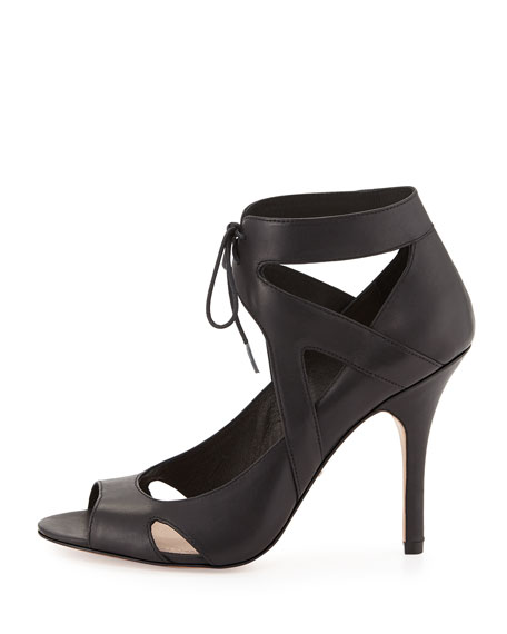 Yanni Ankle-Tie Leather Pump, Black