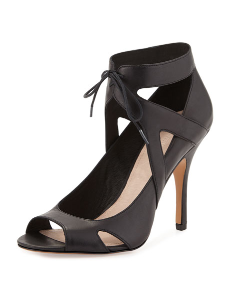 Pour la Victoire Yanni Ankle-Tie Leather Pump, Black