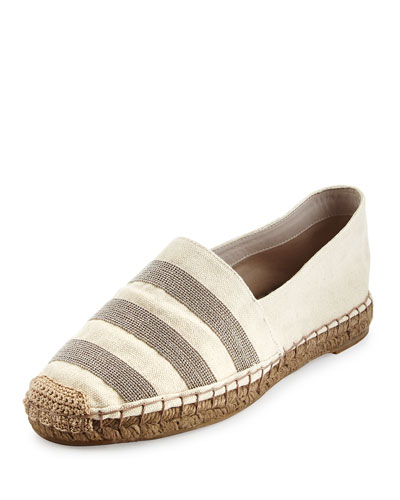 Monili-Striped Canvas Espadrille Flat, Natural