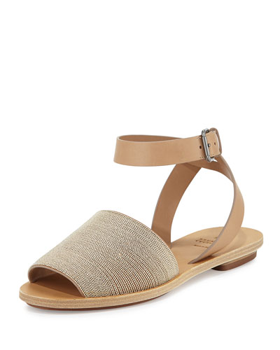 Monili Ankle-Wrap Flat Sandal, Neutral