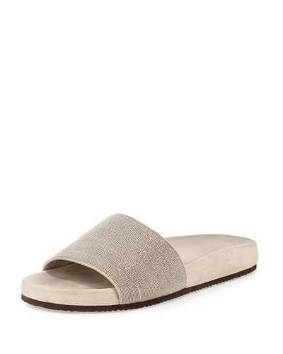 Monili One-Band Flat Sandal Slide, Desert