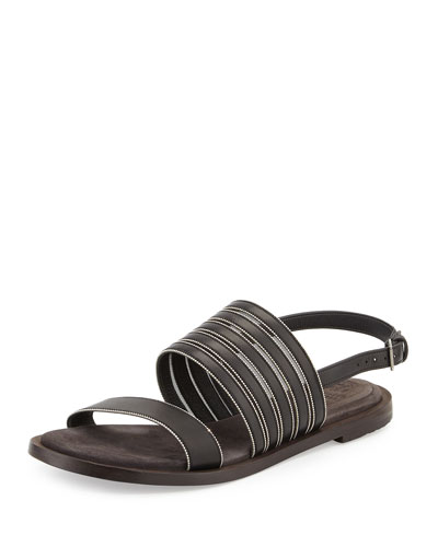 Monili-Trim Leather Flat Sandal, Black