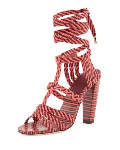 Jimmy Choo Trix 100mm Woven Ankle-Wrap Sandal, Coral