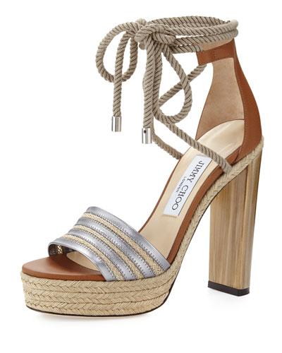 Jimmy Choo Mayje 130mm Rope-Tie Platform Sandal, Silver/Canyon