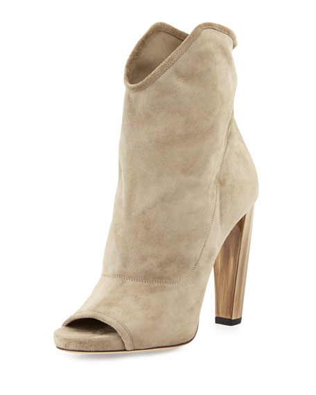 Jimmy Choo Maja 110mm Suede Open-Toe Bootie, Light Khaki