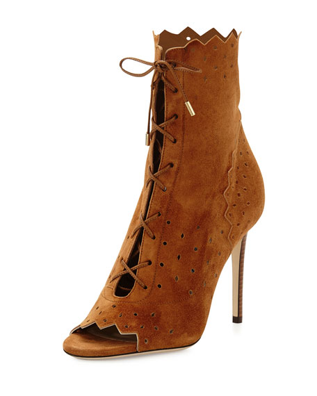 Jimmy Choo Dei 100mm Suede Open-Toe Lace-Up Bootie,
