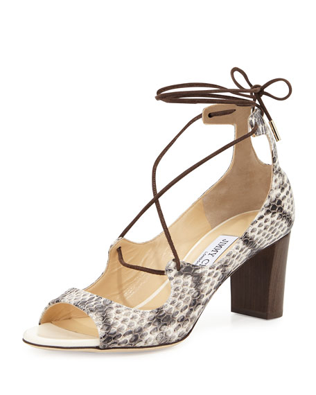 Jimmy Choo Vernie 65mm Snakeskin Lace-Up Sandal,