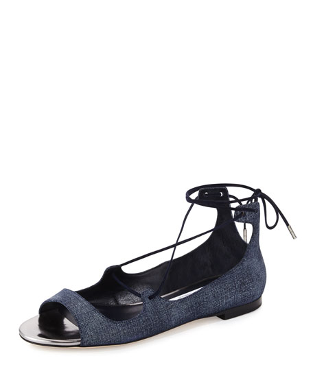 Jimmy ChooVernie Flat Leather Lace-Up Sandal, Light Indigo/Steel