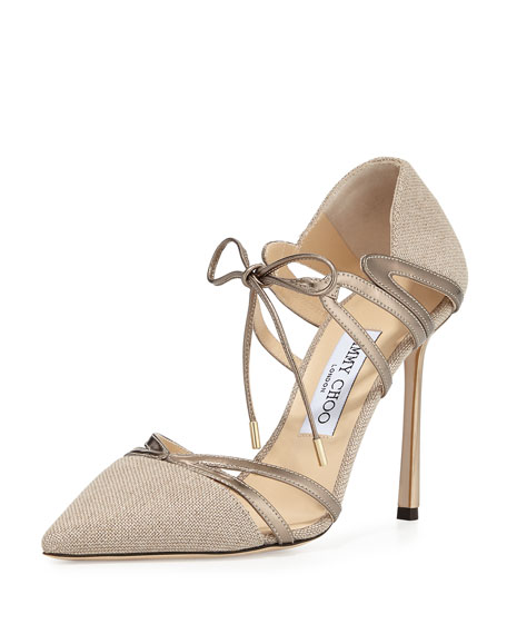 Jimmy Choo Hime 100mm Canvas d'Orsay Pump, Nude