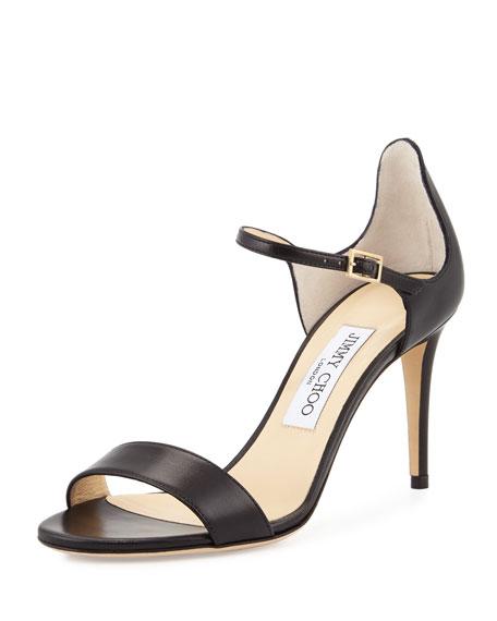 Jimmy Choo Moxy 85mm Leather Sandal, Black