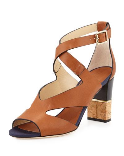 Mira 80mm Leather Crisscross Sandal, Canyon Mix