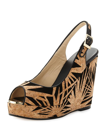 Prova Palm Laser-Cut Wedge Sandal, Black