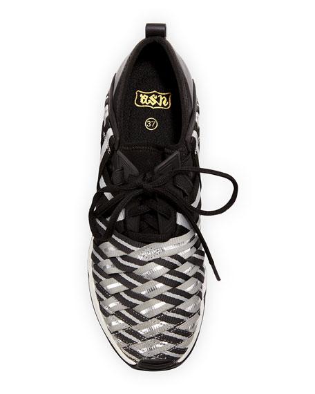 Lunatic Woven Lace-Up Sneaker, Black/Silver