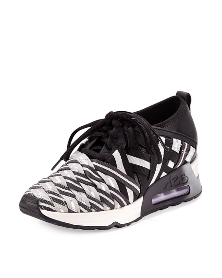 Lunatic Woven Lace-Up Sneaker, Black/Silver