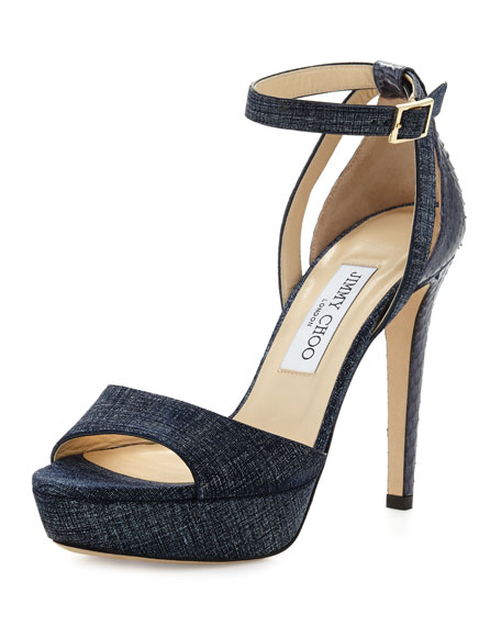 Jimmy Choo Kayden Leather Ankle-Wrap Sandal, Light Indigo/Navy