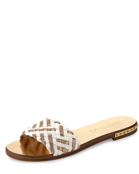 Jimmy Choo Weave Studded Slide Sandal, Latte/Gold