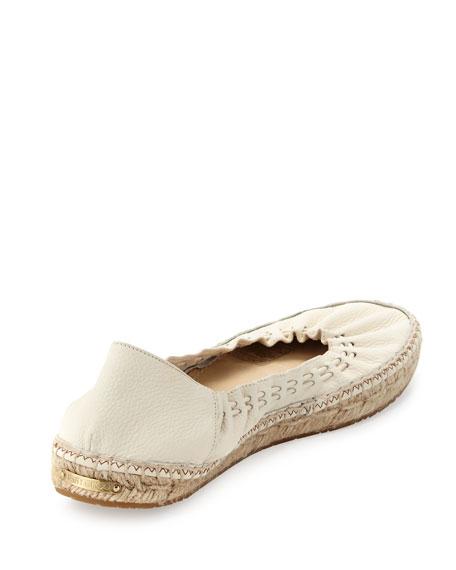 Deena Stretch Leather Espadrille-Style Ballerina Flat, Latte