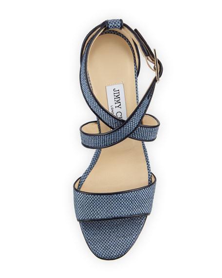 Fearne Raffia Crisscross Wedge Sandal, Navy