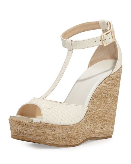 Jimmy ChooPela Snakeskin T-Strap Wedge Sandal, Latte