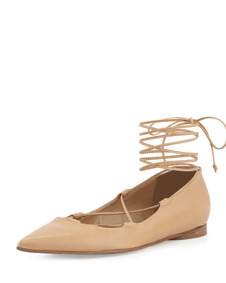 Michael Kors Collection Kallie Leather Lace-Up Flat, Toffee