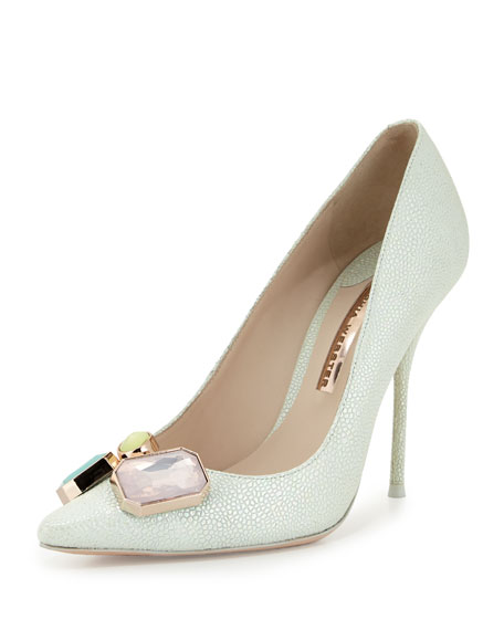 Lola Gem Iridescent Embossed Pump, Mint