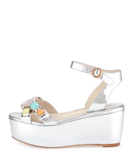 Suki Metallic Gem Sandal, Silver