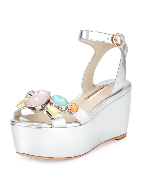Sophia Webster Suki Metallic Gem Sandal, Silver