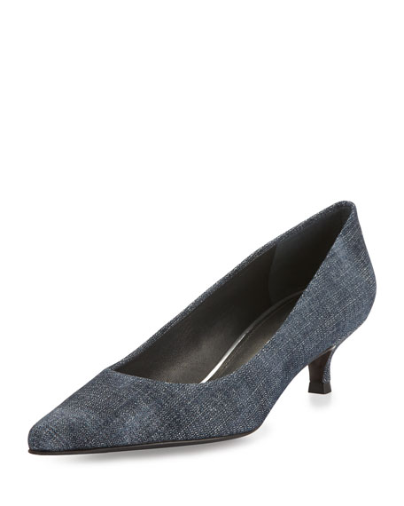 Stuart Weitzman Poco Denim Kitten-Heel Pump, Navy