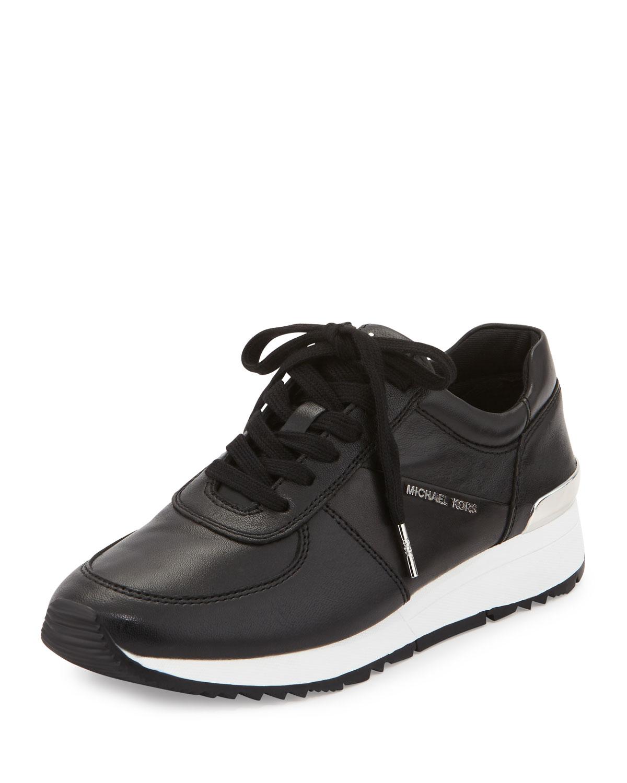f1bc9fd1 MICHAEL Michael Kors Allie Leather Trainer Sneaker, Black | Neiman ...