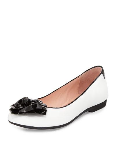 Berndt Flower Leather Ballerina Flat, White/Black