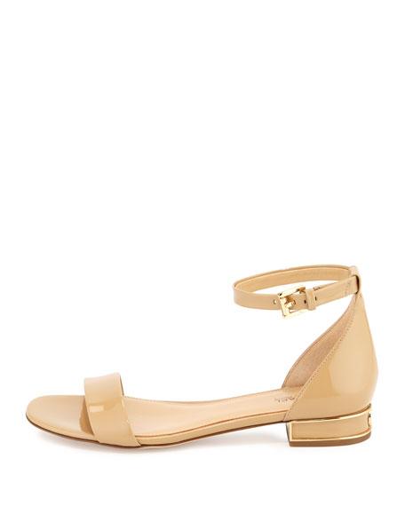 Joy Patent Flat Sandal, Nude