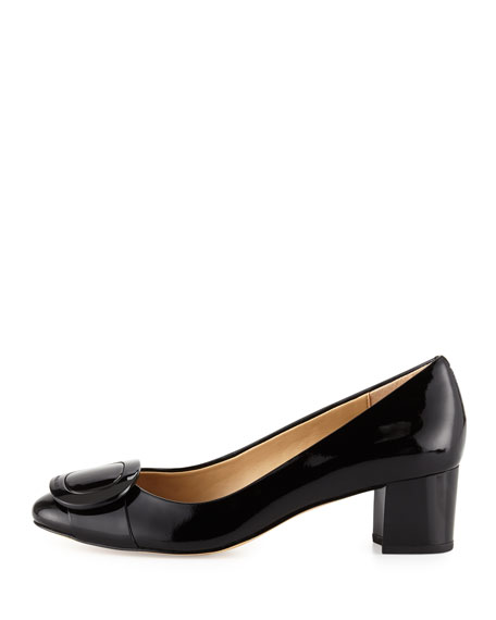 Pauline Patent Mid-Heel Pump, Black