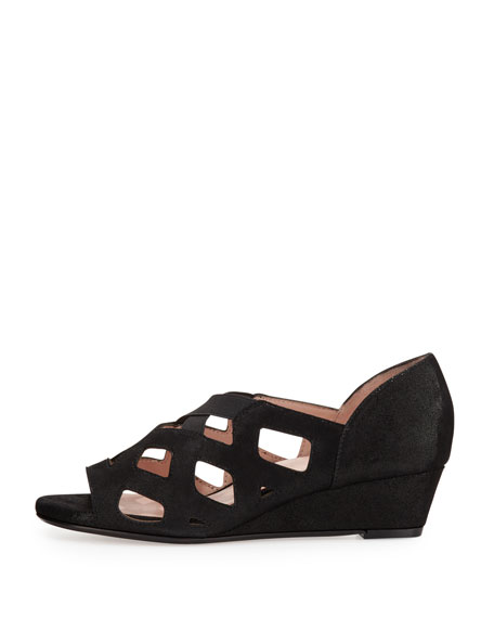 Soukey Strappy Suede Low-Wedge Sandal, Black