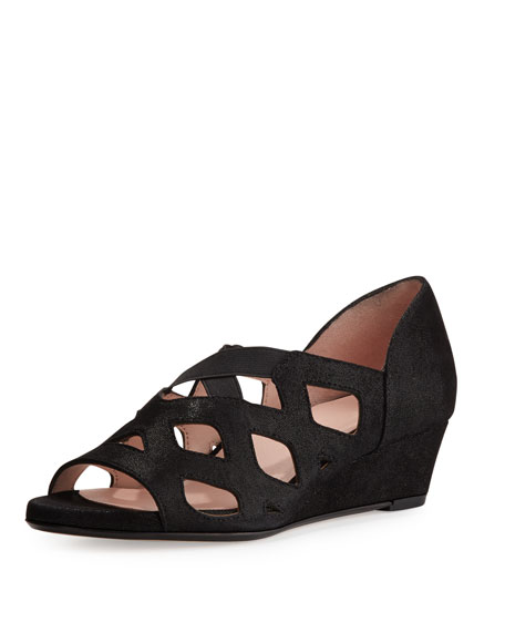 Taryn Rose Soukey Strappy Suede Low-Wedge Sandal, Black