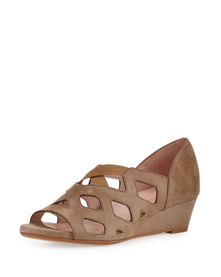 Taryn Rose Soukey Strappy Suede Low-Wedge Sandal, Quinoa