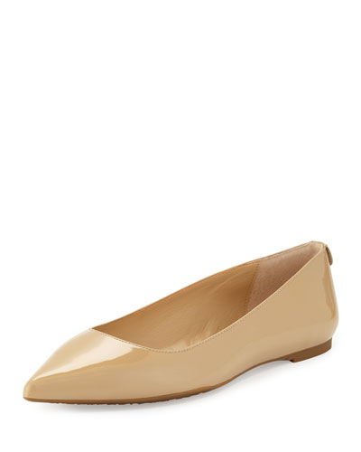 Arianna Patent Pointed-Toe Flat, Nude