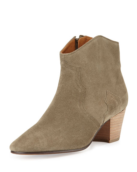 Isabel Marant Dicker Suede Western Bootie, Taupe