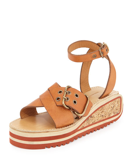 Isabel Marant Zena Leather Buckle Platform Sandal, Tan