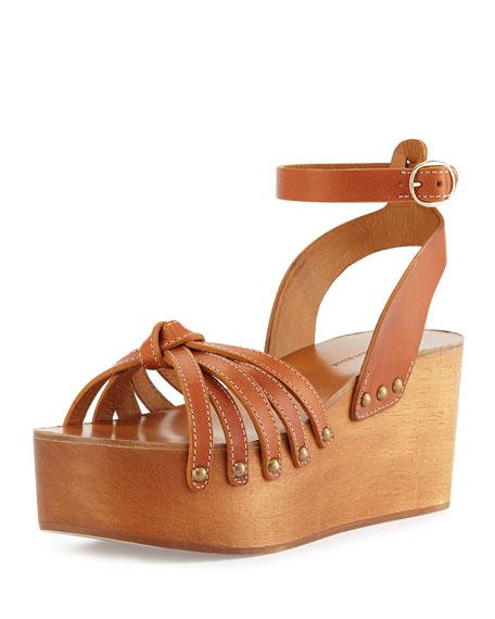 Isabel Marant Zia Leather Platform Wedge Sandal, Tan