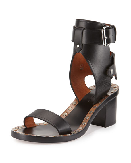 Isabel Marant Jaeryn Studded Two-Tone Ankle-Wrap Sandal, Black/Silver