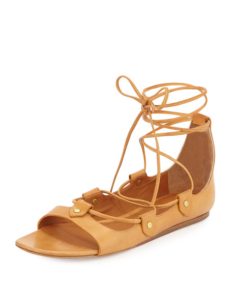 Isabel Marant Alisa Leather Lace-Up Sandal, Amber