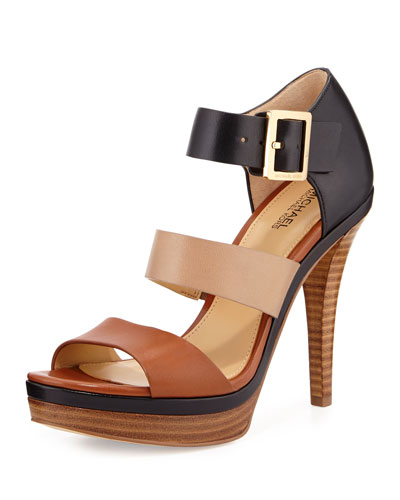 Finley Colorblock Leather Sandal, Luggage/Dark Khaki/Black