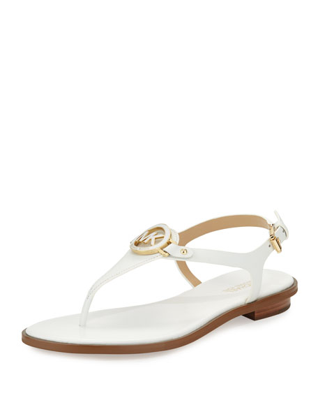 MICHAEL Michael Kors Lee Leather Flat T-Strap Sandal, Optic White